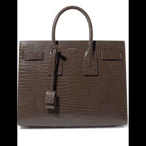 saint Laurent Sac De Jour Croc Embossed Handbag
